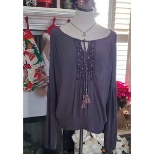Knox Rose Gray Boho Peasant Orion Blouse